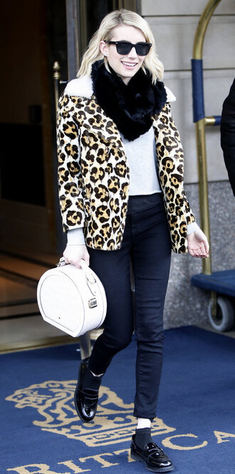 bag purse animal print leopard print emma roberts shoes flats fall outfits