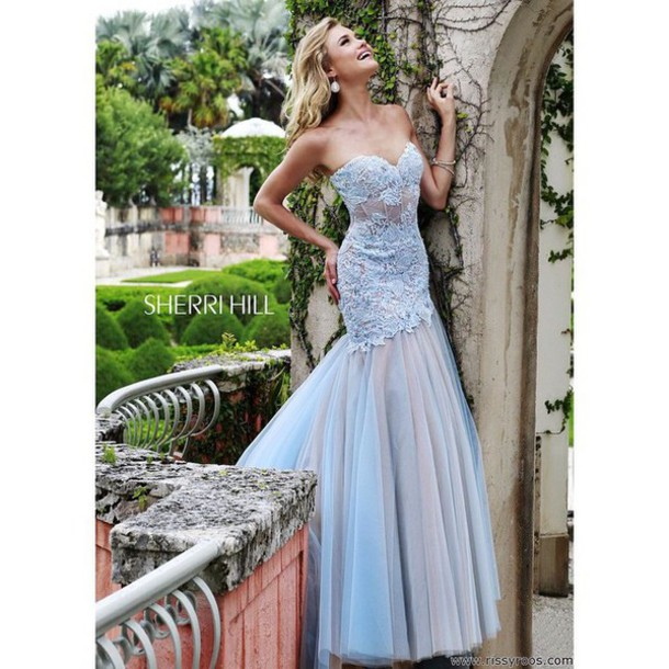 dress lace dress    prom mermaid prom dress blue dress