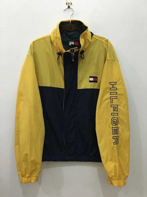 ad04e93bf ON SALE 25% OFF Vintage 90's Tommy Hilfiger Yellow Windbreaker Sweater with  Zipper and Button ...
