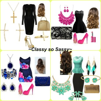 dress rue 21 black dress gold pink teal blue lipstick hair purse date outfit date dress forever 21 cross jewelry blouse