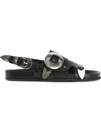 sandals floral black shoes