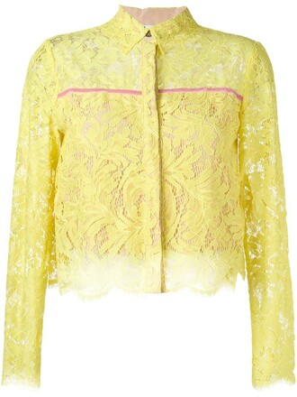 blouse cropped lace yellow orange top