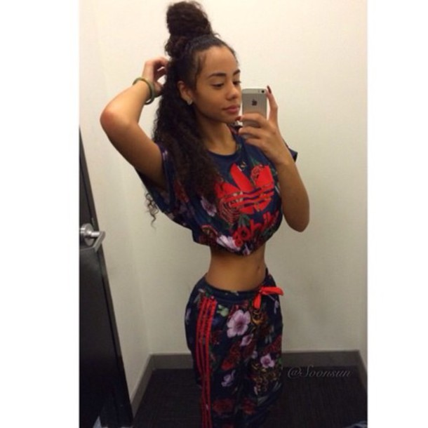 f037910855a840 red blue shirt crop tops floral top adidas tracksuit joggers sportswear  workout black girls killin it