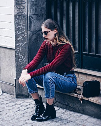 sweater tumblr burgundy burgundy sweater cropped cropped sweater denim jeans blue jeans mom jeans boots ankle boots black boots mid heel boots bag black bag sunglasses