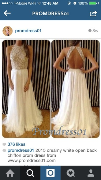 dress white dress open back prom dress beaded dress