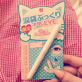 nail polish make-up eyes eye makeup eye tear bags tear bag pink pearl pink shadow liner venusangelic cats kawaii lolita japanese