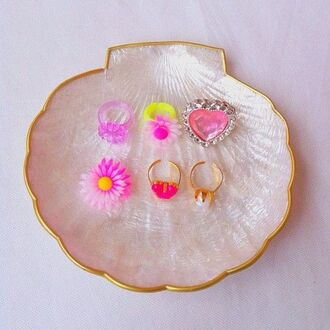jewels plastic gold pink flowers ring daisy kids fashion