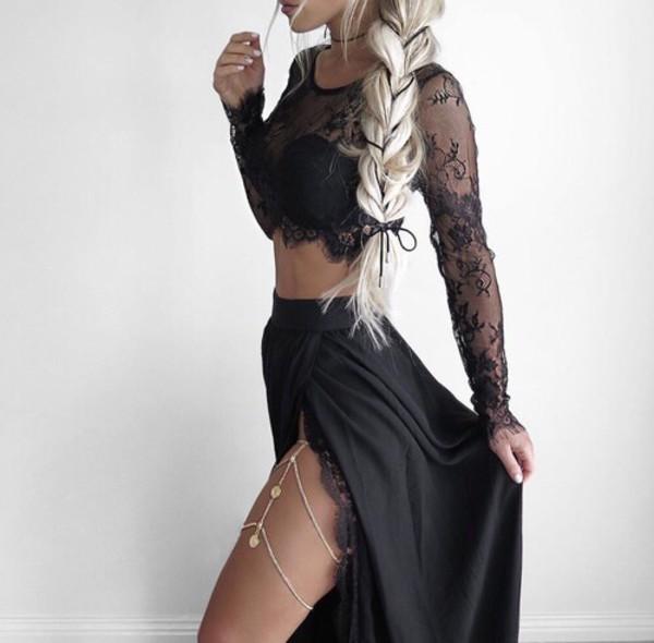 top black black lace lace sheer maxi skirt skirt slit skirt body chain silver coin chaiin blonde hair braid crop tops crop cropped choker necklace black choker white nail black lace top black skirt
