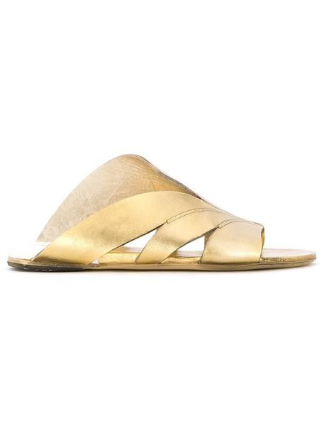 women sandals flat sandals leather grey metallic shoes