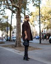 coat,knit,oversized coat,skinny pants,over the knee,high heels boots,leather boots,handbag,leather bag,sunglasses