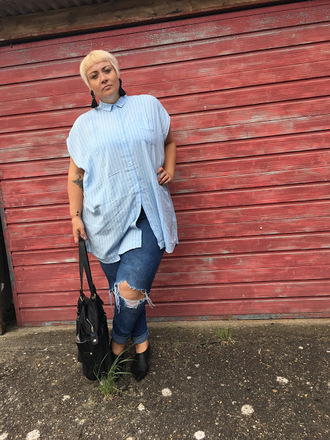 beckybarnesblog blogger shoes shirt jeans bag blue shirt handbag plus size