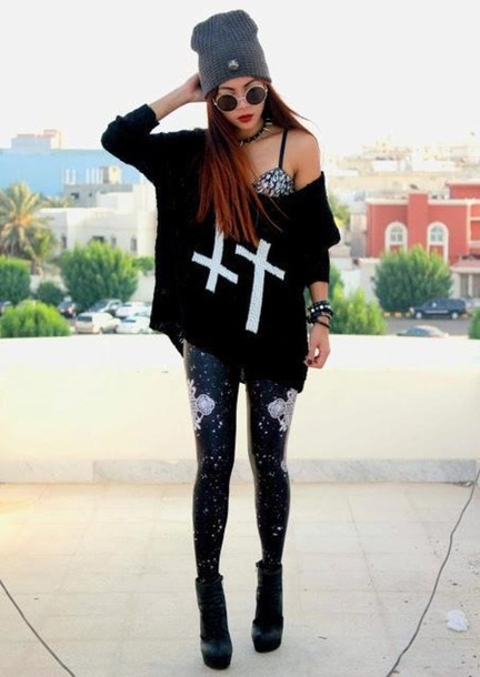 sweater cross black top black big shirt with white crosses blouse grunge wide girl girl shirt black tinted round glasses oversized black shirt tights beanie sunglasses leggings shoes white jewellry bra outfit hat underwear