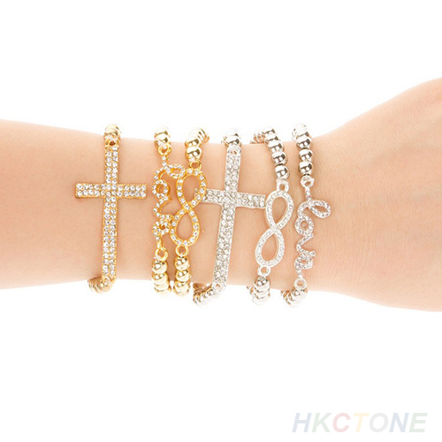 Women's Cool Crystal Rhinestone Cross Love Infinity Stretch Beaded Bracelet B27U | eBay