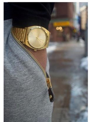 grey gold watch grey sweatpants
