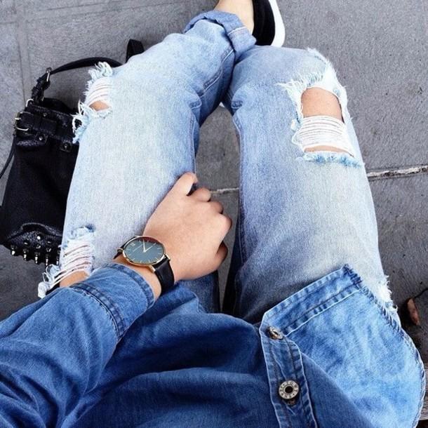 shirt watch denim shirt ripped jeans jeans