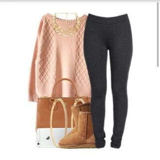 warm boots bag ugg boots pale polyvore ootd leggings sweater sweater weather earrings pretty girly girl necklace jewelry outfit idea fashion winter outfits winter sweater winter boots pink grey leggings gold pink sweater iphone pants