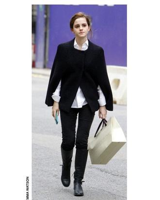 emma watson cape black coat jacket