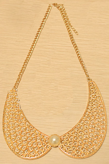 ROMWE | Metal Carved Pearl Collar Necklace, The Latest Street Fashion
