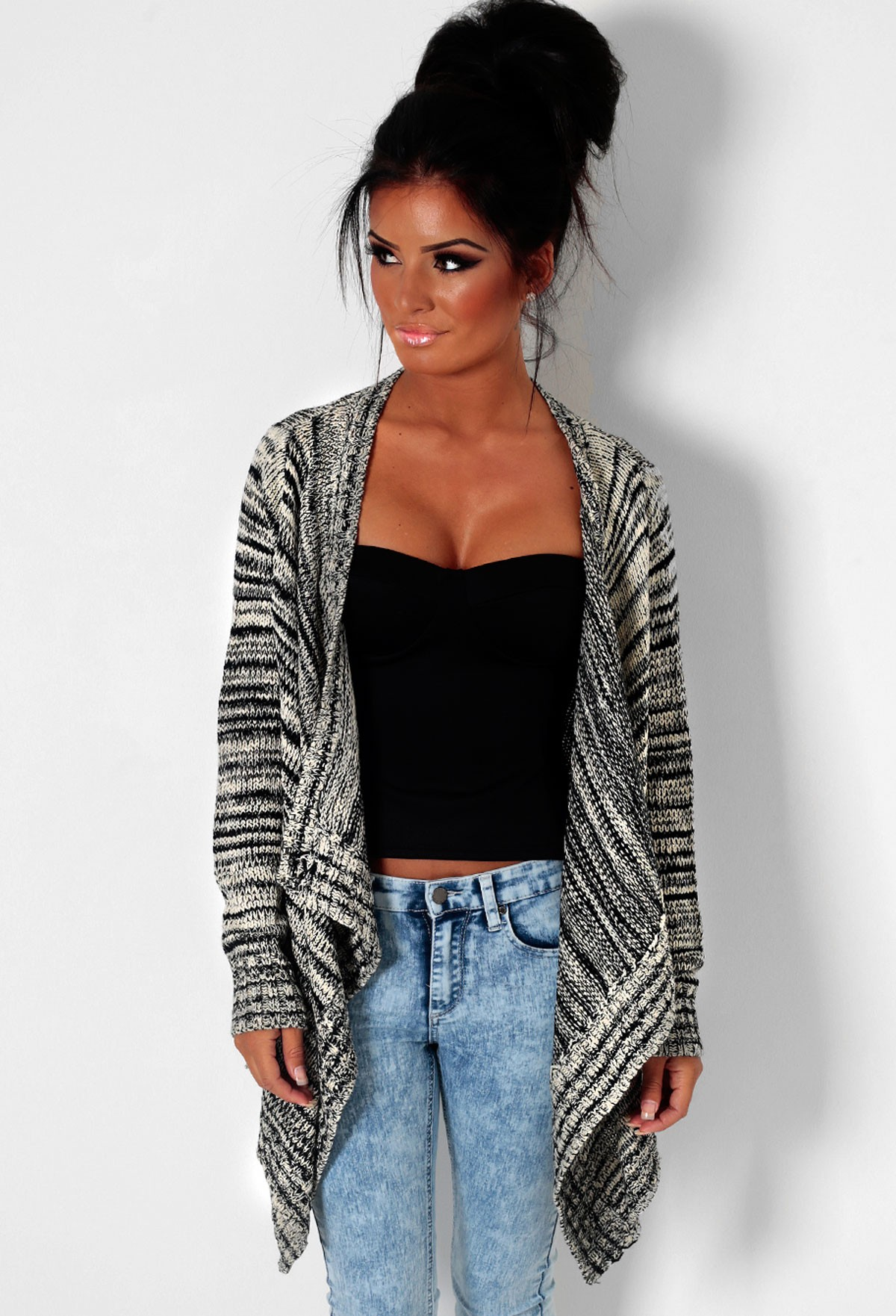 Cream & Black Stripe Waterfall Thick Knit Cardigan | Pink Boutique