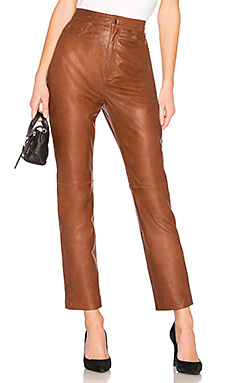LPA Leather Straight Leg Pants in Brown from Revolve.com