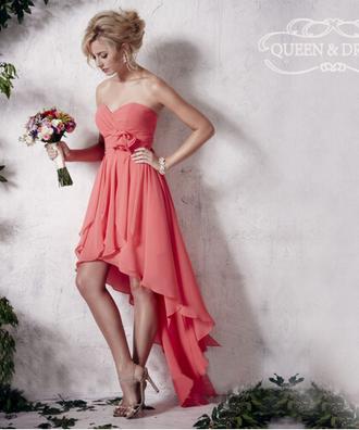 dress chiffon high low dress sweetheart dress bridesmaid high low prom dresses