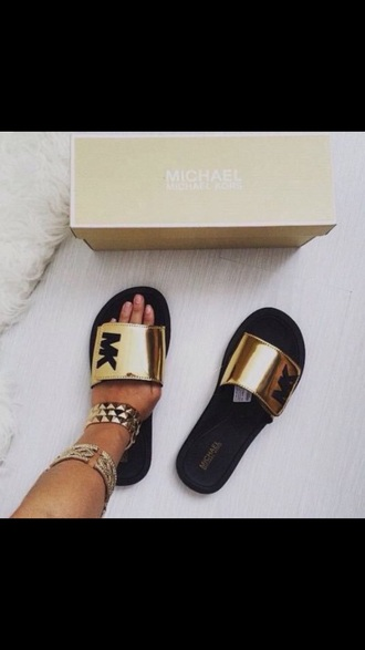 shoes michael kors gold slippers