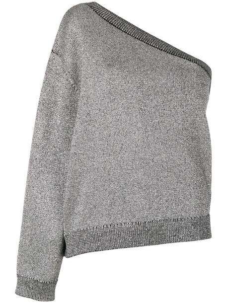 rta jumper women cotton grey metallic sweater