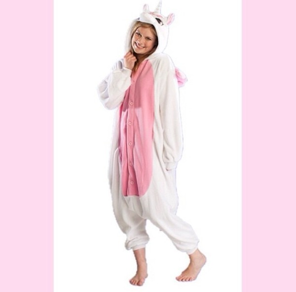 unicorn costume halloween white cute cozy pajamas
