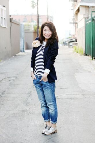 shoes black blazer blue jeans silver oxford shoes blogger black and white striped shirt