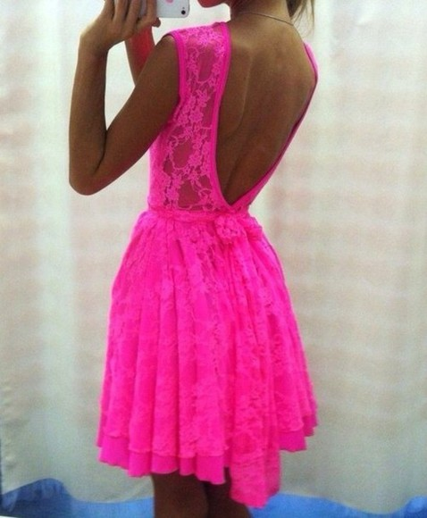 dress lace lace dress low cut back summer floral summer dress hot pink see through hot pink dress low back dress