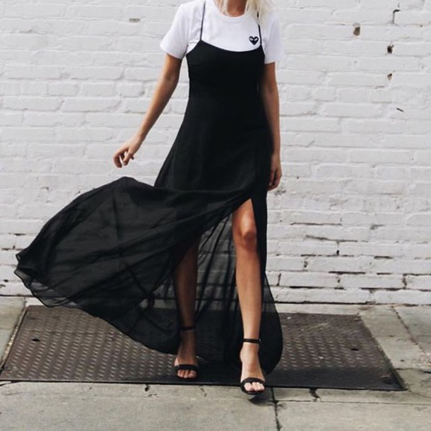 Dress: tumblr, maxi dress, black dress, slip dress, slit dress ...