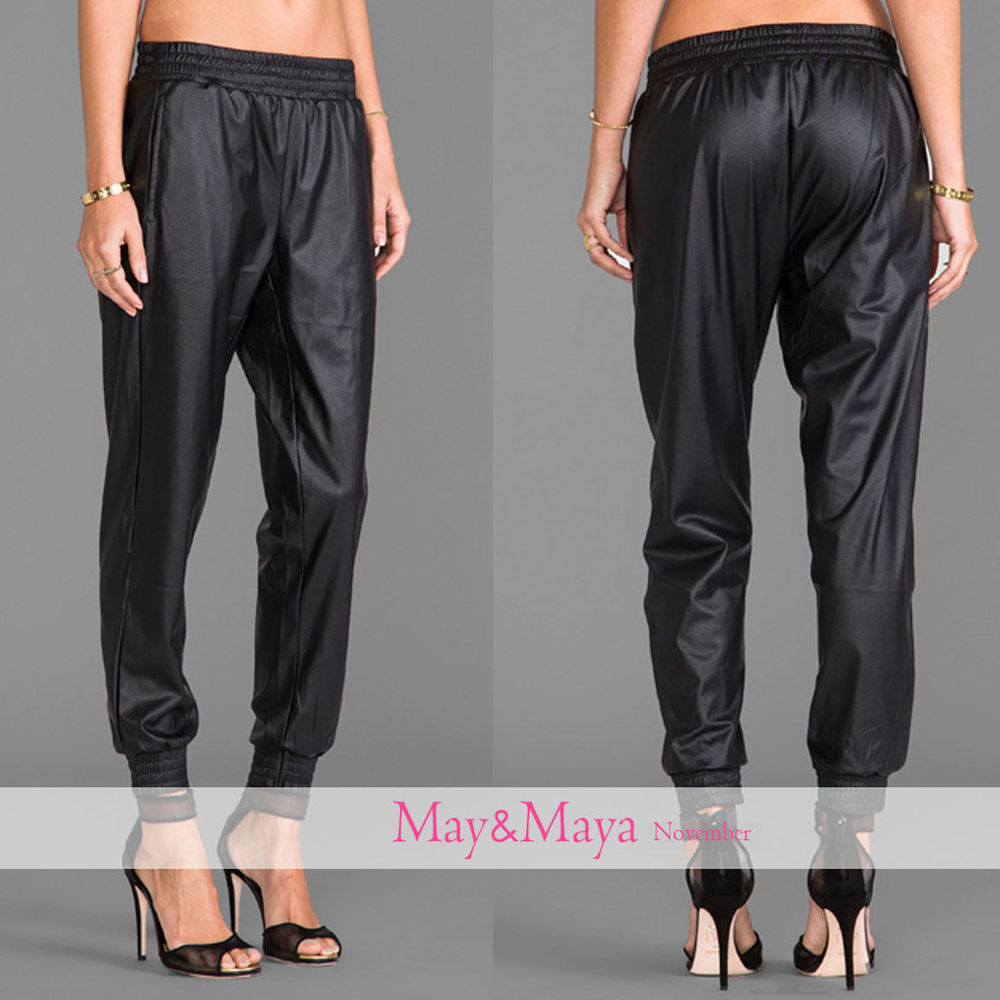 Black Faux Leather Stretch Cuffs Track Sweat Pants for Women Girl | eBay