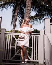 dress,tumblr,mini dress,off the shoulder,off the shoulder dress,stripes,striped dress,shoes,slide shoes,bag,sunglasses