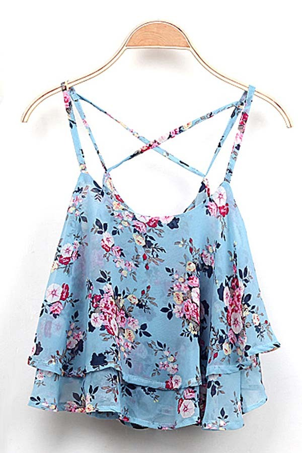 Light Blue Spaghetti Strap Chiffon Floral Cami @ Women's Tank Tops,Camisole,Camisole Tank Top,Layering Tanks,Long Tank Tops,Camisole with Built in Padded Bra,Silk Camisole,Lace Camisole,Cotton Camisole,Spaghetti Strap Tank Tops,Shelf Bra Tank,Strapless Camisole