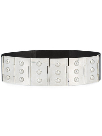 studded women belt leather grey metallic