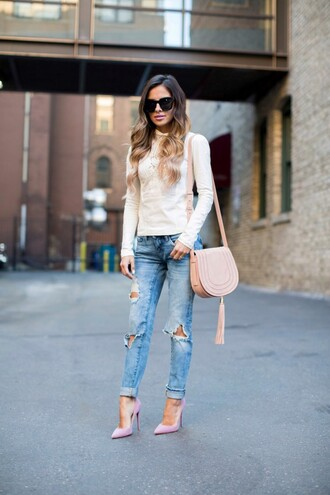 maria vizuete mia mia mine blogger top jeans shoes bag sunglasses