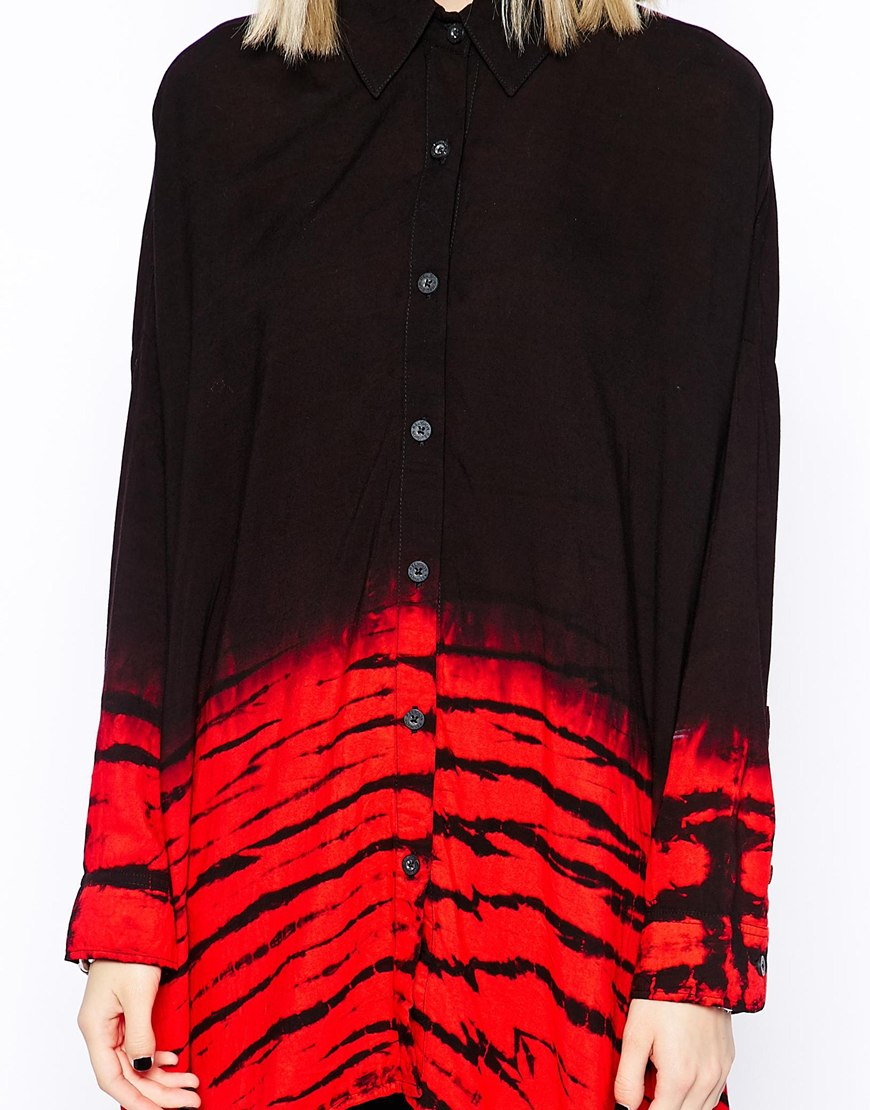 Religion oversized longline dip dye reload shirt at asos.com
