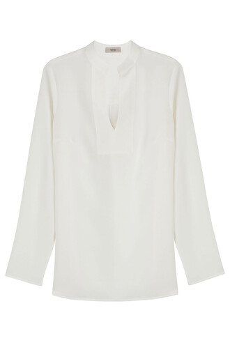 blouse tunic silk white top