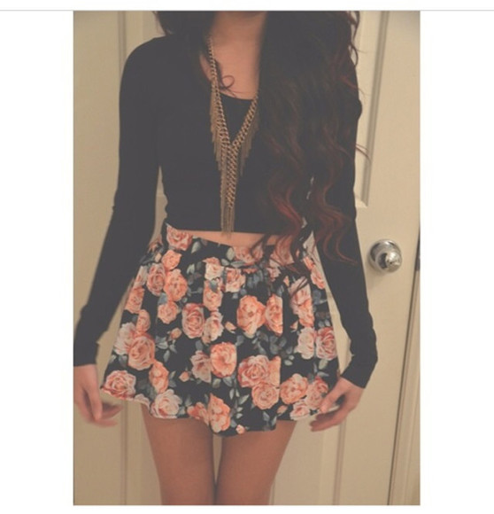 skirt floral top black