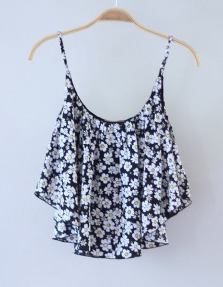 shirt blouse floral flowers white black singlet summer gorgeous pretty cute top clothes daisies daisy flower tank top tumblr tumblr shirt