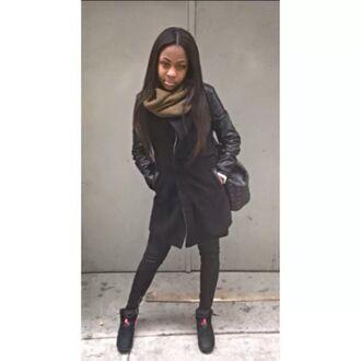 jacket black jacket leather sleeve jacket