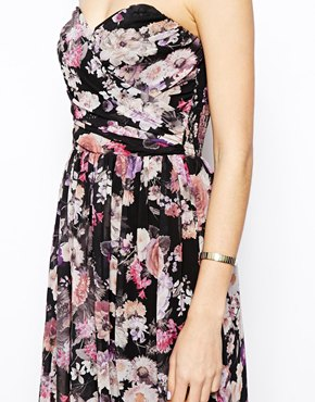 ASOS | ASOS Bandeau Maxi Floral Dress With Contrast Waist at ASOS