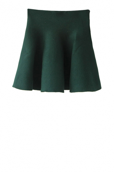 Elegant plain mini knitted skirt with high waist