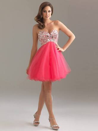 dress prom dress sexy cocktail dress cocktail dress pink shiny poofy pink glitter amazing coral dress short prom dress hot pink pink dress fashion cute dress sparkle