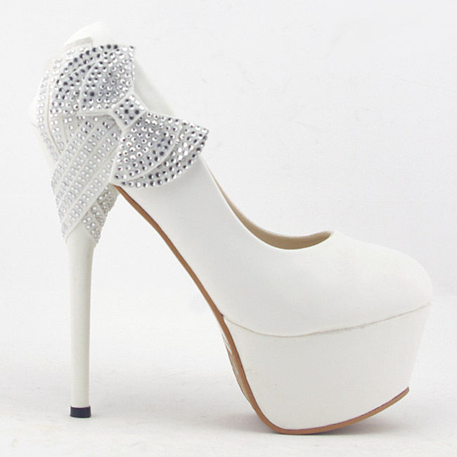 White Bows Princess Platform Stiletto High Heels Wedding Bridal Shoes | eBay