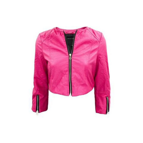 faux jacket pink cropped crop faux leather