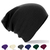 Slouch Beanie Black White Grey Hat Long Festival Warm Knitted Oversized Winter