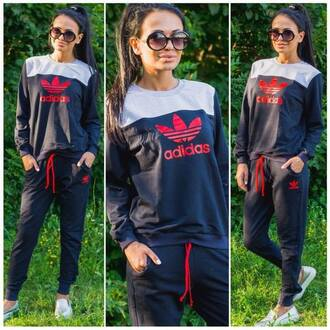 jumpsuit adidas tracksuit adidas tracksuit bottom adidas tracksuit sweater pants jacket navy red gray