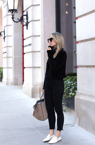 jeans black sweater tumblr black jeans skinny jeans denim shoes loafers white shoes sweater bag grey bag sunglasses