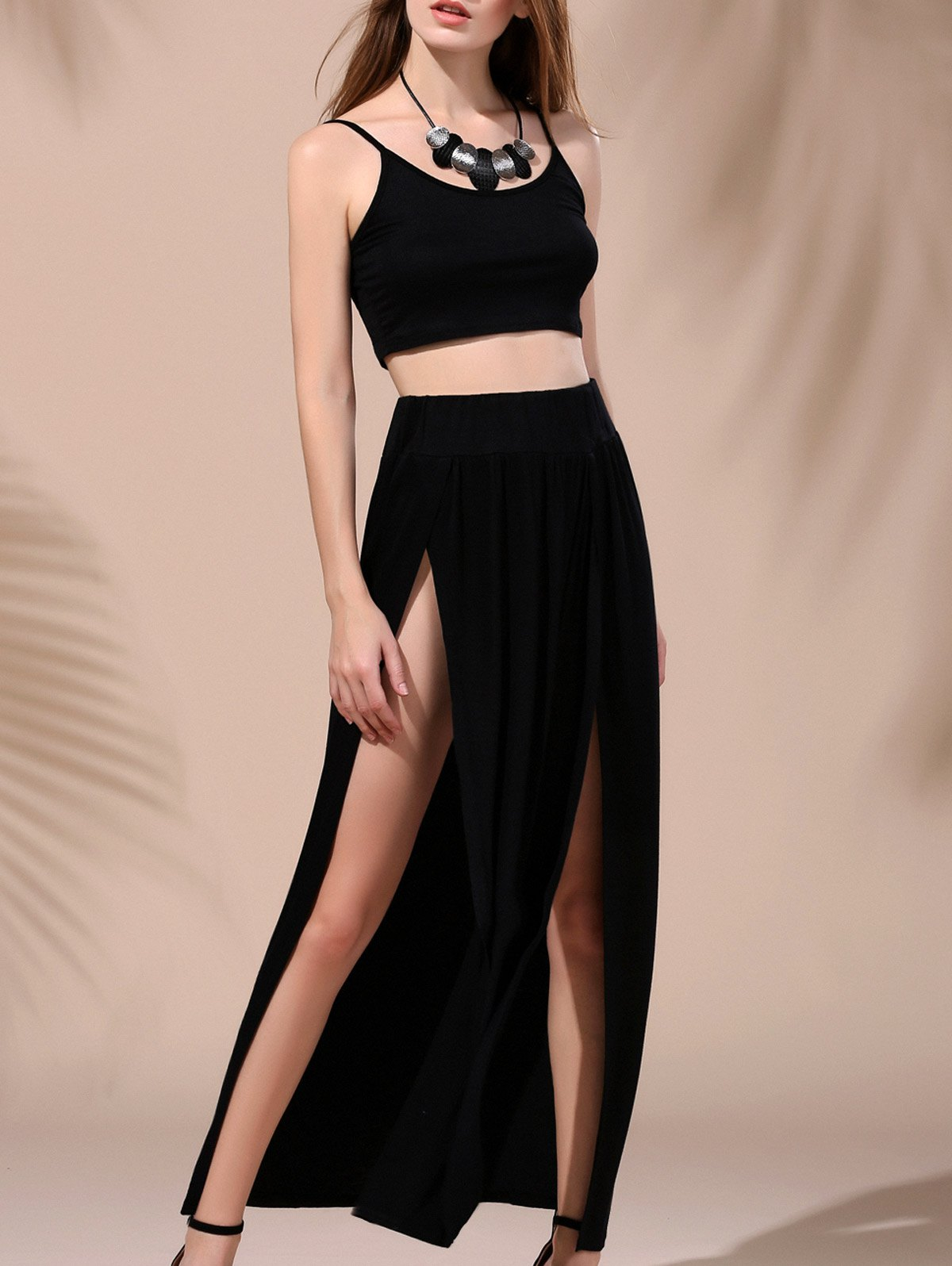 Sexy Low-Cut Cropped Tank Top and High Slit Maxi Skirt Twinset For Women